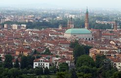 Wide panoramic view of the city of Vicenza with the Basilica Pal Stock Photo