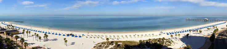 Wide Panoramic View of Clearwater Beach Resort in Florida. This wide panoramic view of Clearwater Beach Resort in Florida shows the  length and beauty of this Stock Image