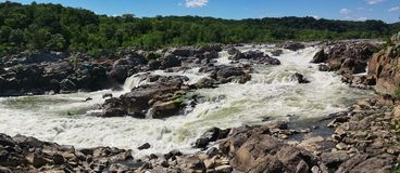 Wide Panoramic View of Great Falls of the Potomac, near Washington, D.C. Stock Image