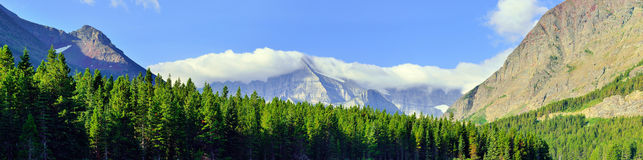 Wide panoramic view of the  high alpine landscape in Glacier national park, Montana Stock Image