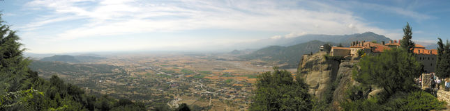 Wide, panoramic view of Meteora, Greece Royalty Free Stock Images