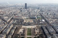 Wide panoramic view of Paris from the height of the Elven tower. Panoramic view of Paris from the height of the elven tower Stock Image