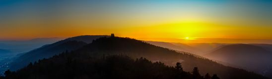 Wide panoramic view of sunset in Vosges mountains, Alsace Stock Photos