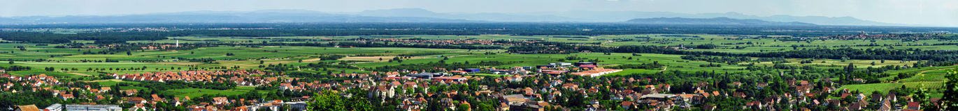 Wide panoramic view to Alsacevineyards, France Royalty Free Stock Images