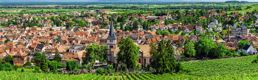 Wide panoramic view to Alsacevineyards, France Royalty Free Stock Photos