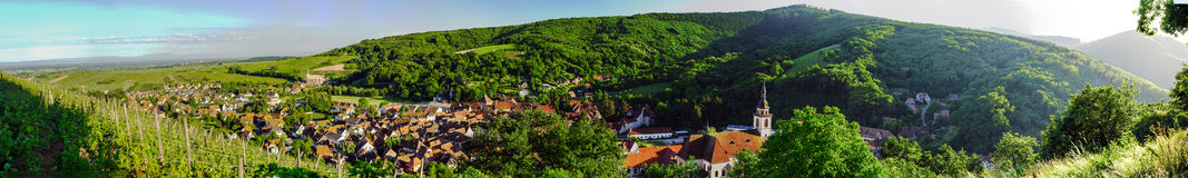 Wide panoramic view to Alsacevineyards, France Royalty Free Stock Photography