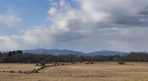 Catskill Mountains and Old Cornfield. A wide panoramic view to the Catskill Mountains from Rhinecliff, New York stock images