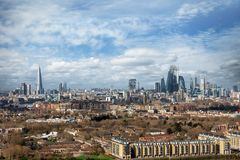 Wide, panoramic view of the urban skyline of London, UK royalty free stock photos