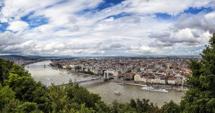 Wide Pest. North panorama view of Pest bank of the Danube river, Budapest, Hungary Stock Images