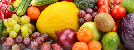 Wide photo fresh vegetables and fruits Stock Photo