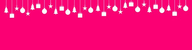 Wide christmas background pink white. Wide pink background with white Christmas Decoration Royalty Free Stock Photography