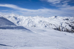 A wide piste, on a clear sunny day in Meribel, in the French Alps Stock Photography