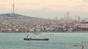 Wide plan for bosphorus. The ship sails on the Bosphorus. Istanbul, Turkey.  stock footage