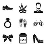 Wide popularity icons set, simple style. Wide popularity icons set. Simple set of 9 wide popularity vector icons for web isolated on white background Stock Images