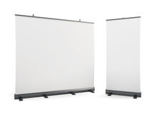 Wide portable advertising banner and roll-up on a white. Stock Images