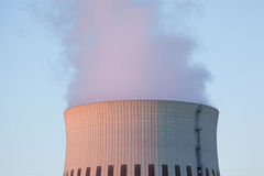Wide power plant chimney sundown Royalty Free Stock Photo