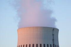 Wide power plant chimney sundown Royalty Free Stock Photo