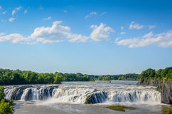 Wide and Powerful Cohoes Falls Royalty Free Stock Photography