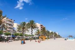 Wide public sandy beach of Calafell, Spain Stock Photos