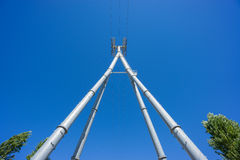 Wide Railway catenary against a blue sky Stock Photos