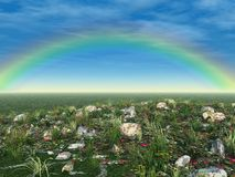 Wide Rainbow Over Green Field Stock Photo