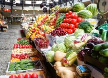 Fruit stall in russian market in st Petersburg. royalty free stock image