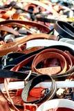 Wide range of leather belts at oriental bazaar Stock Photo