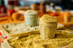 Wide Range Of Multicolored Powdered Fragrant Spices At Showcase Stock Photography