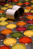 Wide range of paint cans Royalty Free Stock Image