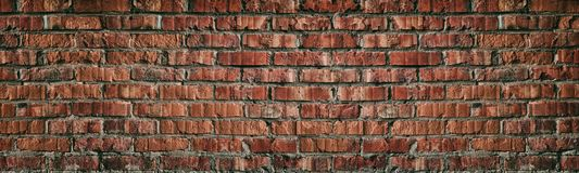 Free Wide Red Brick Wall Texture. Old Rough Orange Brickwork Widescreen Backdrop. Grunge Panoramic Large Background Royalty Free Stock Photos - 159661208