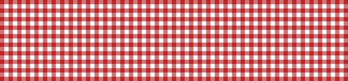 Checkered tablecloth banner red white. Wide red and white checkered tablecloth banner vector illustration