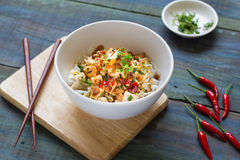 Wide Rice Noodle Rolls(Kuay Teow Lot). Thai and chiness style mix noodle Stock Image