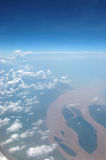 Wide river. A large river in bangladesh seen from an airplane Stock Images