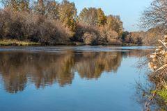 Wide river in autumn Royalty Free Stock Photos
