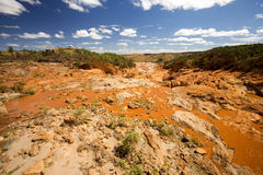Wide river bed Betsiboka, flushes red soil after heavy rains in Madagascar Royalty Free Stock Images