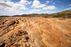 Wide river bed Betsiboka, flushes red soil after heavy rains in Madagascar Stock Photos