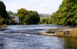 Wide river scene in Wales. Wide view of the river through Llangollen in Wales Royalty Free Stock Image