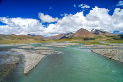 Wide river valley in Central Tibet Stock Images