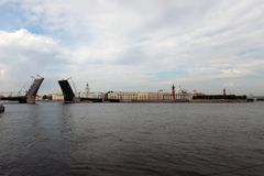 Wide river. A wide river Neva and a diluted Palace Bridge Stock Images