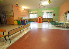 Wide room of a school for kids without people Royalty Free Stock Image