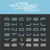 Wide rounded outline sport techno font. Letters with numbers royalty free illustration