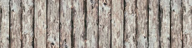 Wide rustic wood logs background - old wooden boards panorama stock photo