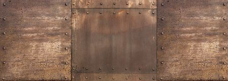 Rusty metal steam punk wide background. Wide rusty metal steam punk military background royalty free stock images