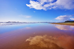 The wide sandy beach Royalty Free Stock Photo