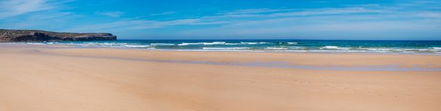 Free Wide Sandy Beach Bordeira, West Algarve Portugal. Without People Stock Photo - 167769990