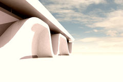 Wide sceen clean white space with modern building Royalty Free Stock Photo