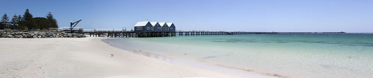 Wide Scenic Panorama Of Busselton Jetty West Australia Stock Photography