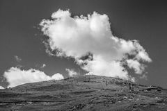 A Wide Scenic View to the Ropeway Station with Clouds on Background. Monochrome picture Royalty Free Stock Photos