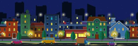 Wide screen cityscape in flat style at night time Stock Photography