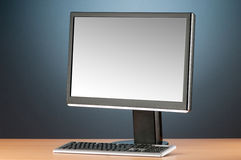 Wide screen computer monitor against  background Royalty Free Stock Photo